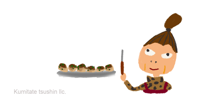 たこ焼き屋のおばあちゃん 天満のイラスト