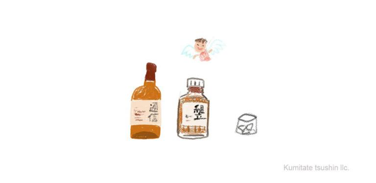 日本のウイスキーと天使の分け前のイラスト 組立通信LLC.