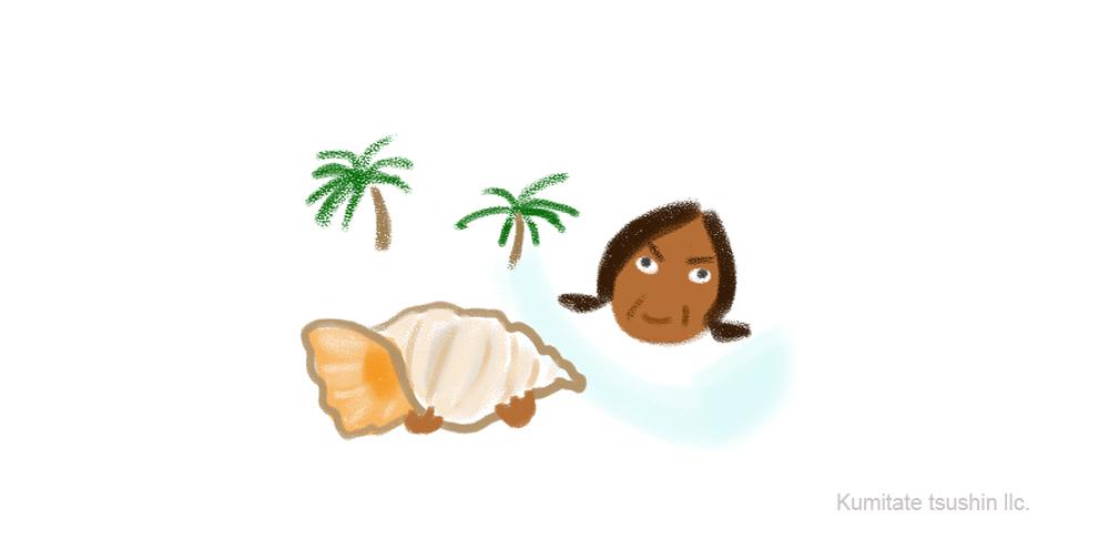バリ島でホラ貝を売るおばちゃんのイラスト 組立通信LLC.コンテンツサイト